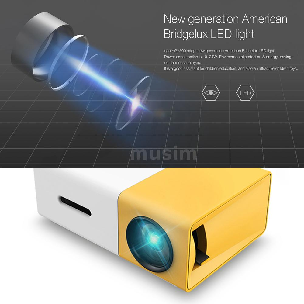 YG300 1080P LED Projector Projection with USB HD TF Card Slot for Laptop PC P2X0